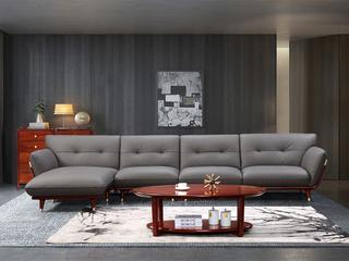 优质进口头层黄牛皮 新中式轻奢 110沙发(1+3+右贵妃)