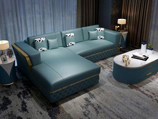 慕梵希 轻奢 (3+右贵妃) 蓝色 优质头层黄牛皮  北美进口落叶松框架 C12沙发组合