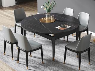 现代简约 劳伦黑金 2260岩板 1.2米餐桌