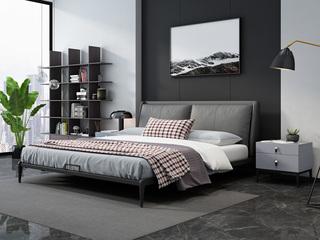 奢工 潮品系列 极简风格 808床 1.5*2.0米 灰色 头层黄牛皮床