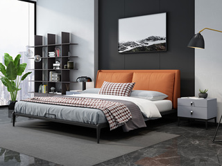 奢工 潮品系列 极简风格 808床 1.5*2.0米 橙色 头层黄牛皮床