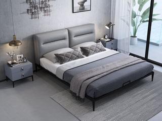 奢工 潮品系列 极简风格 809床 1.5*2.0米 头层黄牛皮床