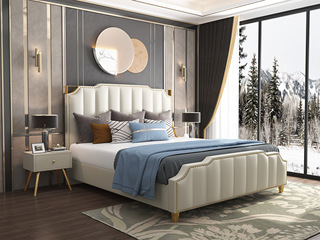 轻奢系列 充盈软靠 优质皮艺+实木框架 米白色 1.8米床
