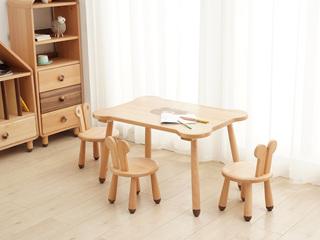 北欧风格 榉木坚固框架 手工木蜡油工艺 曲奇色 ET6201儿童桌