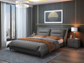 皮坊工藝 現代簡約 皮藝 灰色1.8*2.0米床