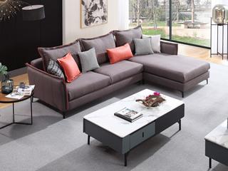现代简约 进口樟子松坚固框架 科技布  F31 弹簧底坐 沙发组合(3+左贵妃)