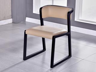 现代简约 米黄色 白蜡木 皮艺无扶手餐椅