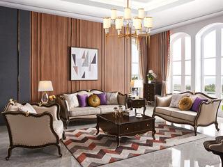 简欧系列 泰国进口橡胶木框架 纳帕皮艺+布J2005E沙发组合(1+2+3)