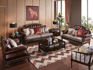 简欧系列 泰国进口橡胶木框架 纳帕皮艺+布J2006E沙发组合(1+2+3)