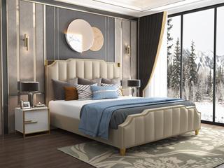 轻奢风格 舒适皮艺软靠+实木框架 米黄色1.8米床