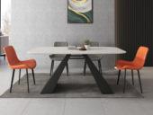 米勒 極簡風格 意大利進口巖板N01#黑白色A型 1.4米餐桌