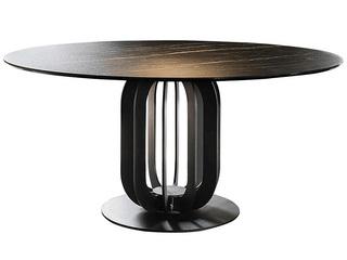 极简风格 意大利进口岩板NO3#黑色O型1.35米餐桌