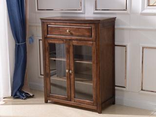 美式风格 泰国进口橡胶木 浅咖色 组合柜低柜