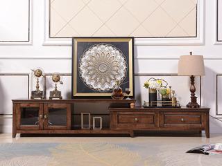 美式风格 泰国进口橡胶木 浅咖色 拉伸电视柜