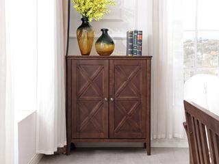 美式风格 泰国进口橡胶木 浅咖色 两门鞋柜