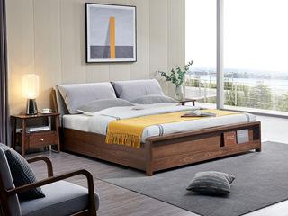 北欧风格 北美进口白蜡木 布艺软靠 1.8*2.0米高箱床