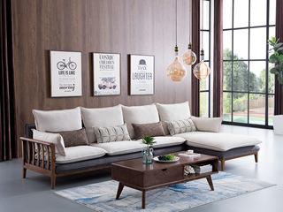 北欧风格 北美进口白蜡木 布艺沙发 转角沙发(1+3+左贵妃)