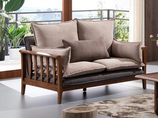 北欧风格 北美进口白蜡木 布艺沙发 双人沙发