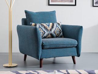 北欧风格 泰国进口橡胶木 布艺沙发 单人沙发