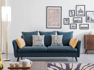 北欧风格 泰国进口橡胶木  布艺沙发 三人沙发