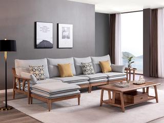 北欧风格 北美进口白蜡木 布艺沙发 转角沙发(5人位+脚踏)(不分左右)