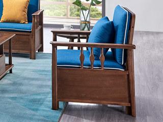 北欧风格 北美进口白蜡木 布艺沙发 单人沙发
