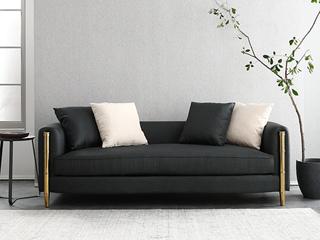 轻奢风格 不锈钢镀钛金 高档棉麻布 实木 双人位沙发(抱枕随机发货)