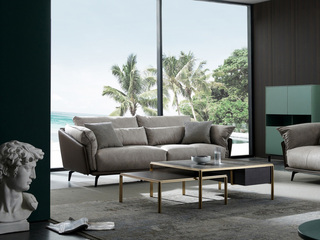 极简风格 科技布+压纹皮 羽绒 实木底框架 三位沙发