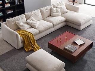 极简风格 乳胶颗粒+棉麻面料 实木底框架 转角沙发(1+3+左贵妃)