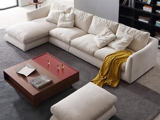 极简风格 乳胶颗粒+棉麻面料 实木底框架 转角沙发(1+3+右贵妃)