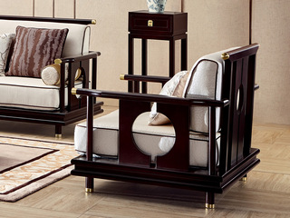 新中式 东南亚进口红檀木 高精密提花面料 K902 单位沙发
