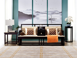 新中式 东南亚进口红檀木 真丝靠包 K903 三位沙发(不含案几)