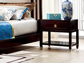 墨舍 新中式 东南亚进口红檀木 上抽床头柜