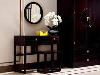 新中式 东南亚进口红檀木 W981 梳妆台(含妆镜)
