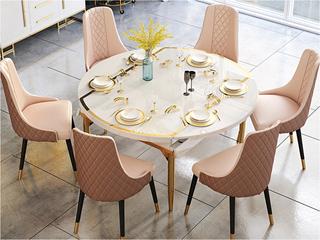 轻奢风格 安全耐用的微晶面板 不锈钢拉丝封釉镀钛金 伸缩餐桌(不带电磁炉)