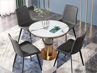 卡伦斯特 轻奢风格 大理石 不锈钢电镀钛金拉丝 铁柱 0.8m大理石洽谈桌