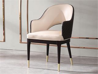 轻奢风格 优质环保皮 进口优质实木 不锈钢拉丝封釉镀钛金 餐椅(单把价格 需双数购买 单数不发货)