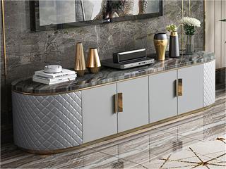 輕奢風格  優質皮藝 不銹鋼拉絲封釉鍍鈦金 大理石電視柜