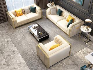 轻奢风格 优质绒布+优质皮艺 进口实木 不锈钢拉丝封釉镀钛金 实木精刨方木框架 组合沙发(1+2+3)(抱枕随机发货)
