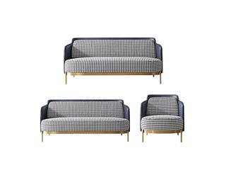 轻奢风格 进口多层实木板 高档棉麻布 优质皮革 不锈钢拉丝封釉镀钛金 组合沙发(1+2+3)