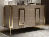 卡伦斯特 轻奢风格 不锈钢拉伸镀 钢化玻璃面 实木抽屉 绒布底 缓冲导轨 4门 无抽屉1.5m餐边柜