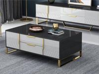 卡伦斯特 轻奢风格 高级密度板钢琴烤漆柜子 不锈钢架子 玻璃1.3m茶几