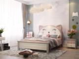 梓华轩 简美 卡慕斯系列 泰国进口橡胶木 微笑猫咪 1.2*1.9m儿童床