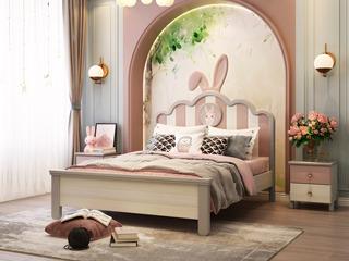 简美 卡慕斯系列 泰国进口橡胶木 长耳俏皮兔 1.5*2.0儿童床