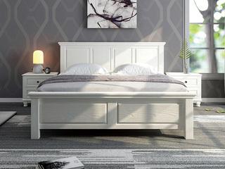 简美风格 泰国进口橡胶木 全实木压纹 象牙白1.8*2.0m床