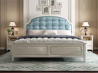 简美风格 泰国进口橡胶木 全实木 象牙白浅兰皮 舒适靠枕1.8*2.0m床
