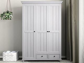 简美风格 泰国进口橡胶木 全实木 时尚灰三门衣柜