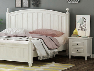 简美风格 泰国进口橡胶木 全实木 象牙白床头柜