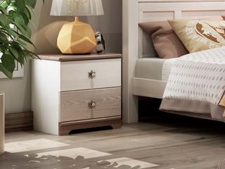 简美风格 主材北美白蜡木 新西兰松木 北美红橡木 深咖色 象牙白 双拼色 儿童双抽床头柜