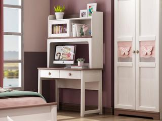 简美风格 主材北美白蜡木 新西兰松木 北美红橡木 深咖色 象牙白 双拼色 儿童1.0m独立书桌(含书架)